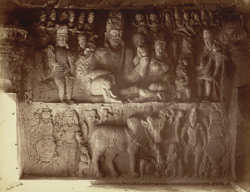 Chaupat panel from Dumar Lena [Sculptured panel of Shiva and Parvati playing dice, in Hindu Cave XXIX (Dumar Lena), Ellora.]